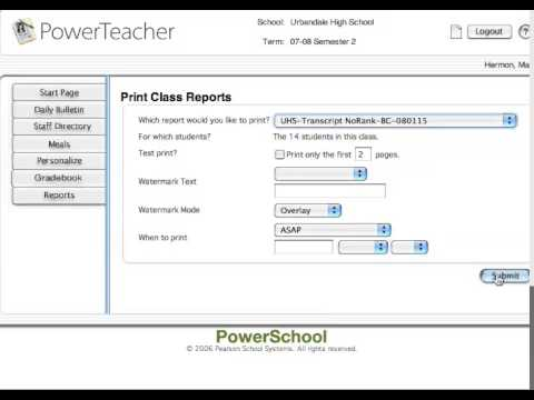 How to Print Multiple Transcripts in Power School