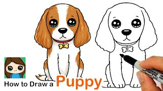 How to Draw a Cocker Spaniel Puppy Dog Easy