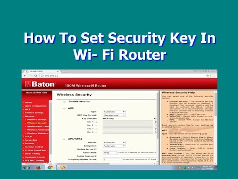 How To Set Security Key In Wi  Fi Router