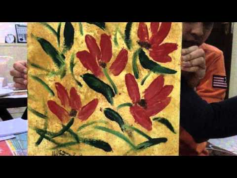 How to make an abstract painting with spatula flowers  RAM