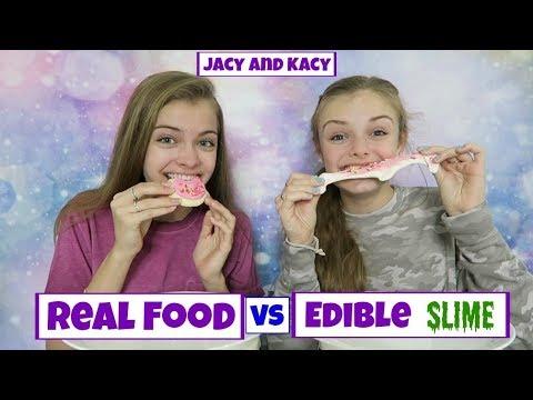 Real Food vs Edible Slime Challenge ~ Jacy and Kacy