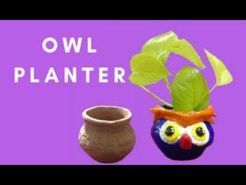 DIY : CLAY PLANTERS | HOME DECOR IDEAS | CUTE OWL PLANTER|POT DECORATION