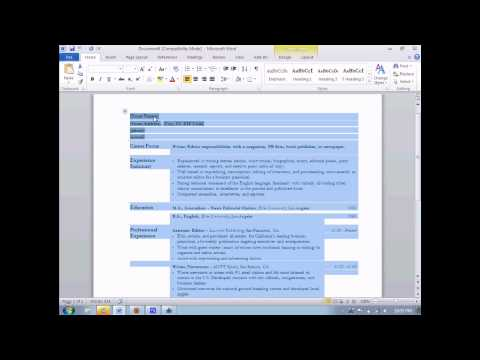 How to make a resume in Microsoft Word 2010.