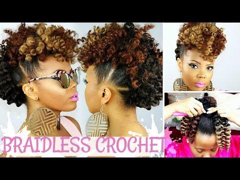 BRAIDLESS CROCHET | NO CORNROWS | CURLY CROCHET FAUX HAWK TUTORIAL | NATURAL HAIR UPDO |TASTEPINK