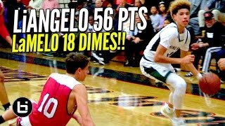 LiAngelo Ball Drops 56 Pts & LaMelo Dishes 18 Dimes! Chino Hills BLOWOUT Win Full Highlights!