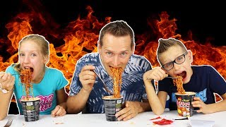 KOREAN FIRE NOODLE CHALLENGE! w/ our DAD