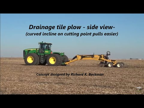 Tile outlet hookup & installation with my patented drainage tile plow