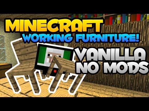 Minecraft - Working Furniture!! Vanilla/NO MODS (Chair, Table, Tv, Etc.)