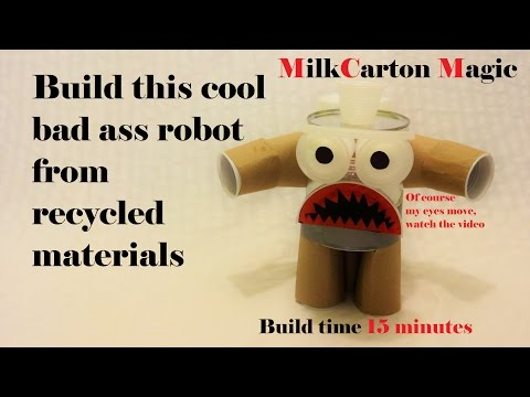 Easy to build flying bad boy robot from recycled materials in less than 15 minutes