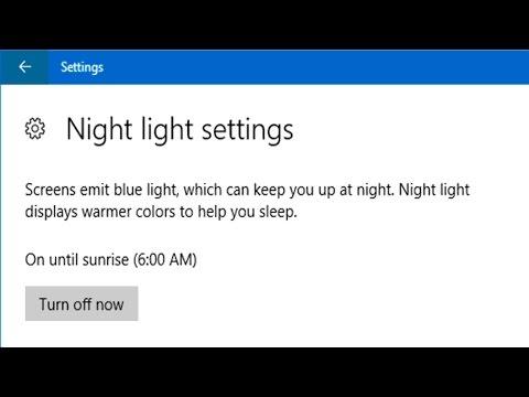How to turn on or turn off night light settings in Windows 10 Creators update