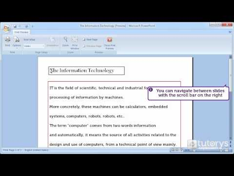 How to make a print preview with PowerPoint 2007?
