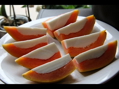 How to make simple dessert papaya coconut panna cotta木瓜椰奶冻 with Chinese and English subtitle