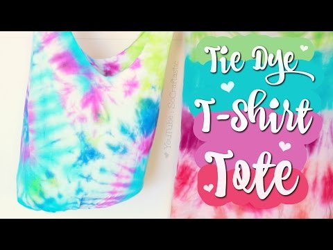 DIY T-SHIRT TOTE Bag - NO SEW - Easy Tie Dye How To | SoCraftastic