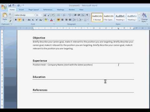 Create A Resume with Word 2007