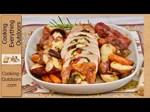 Grilled Stuffed Pork Tenderloin with Apricot Preserves