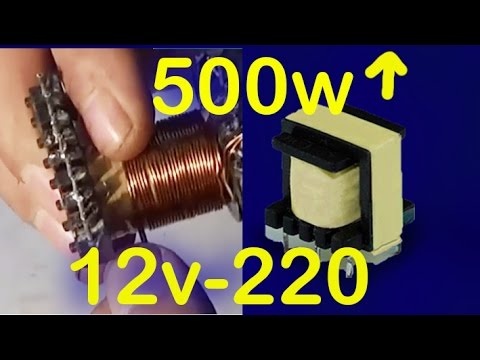 how to build a pulse transformer 500w, 12v to 220v inverter