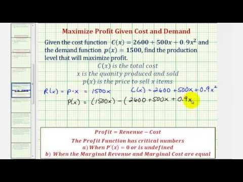 Ex: Given the Cost and Demand Functions, Maximize Profit