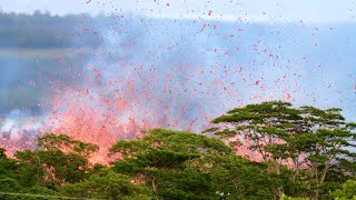 Lava Splatter Being Thrown In The Air In Hawaii