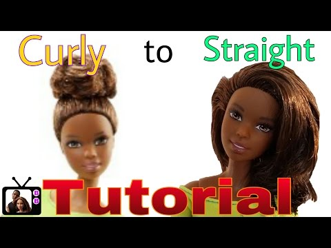 Custom Yellow Top Made to Move Barbie Makeover- DIY Straighten Barbie Doll hair