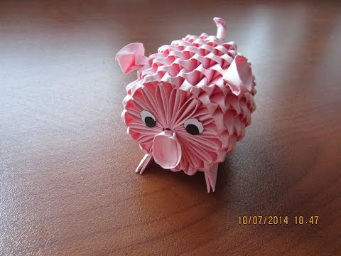 3D Origami Piggy Tutorial