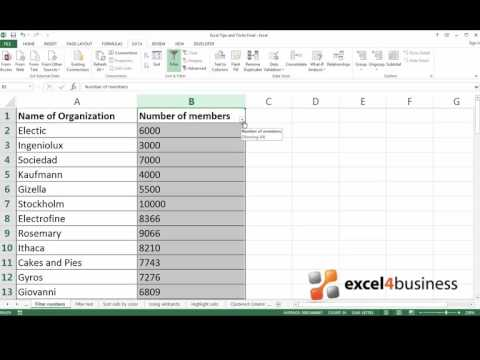 How to Filter Numbers in Excel 2013
