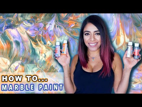 How to Create MARBLE TEXTURE Using ACRYLIC PAINT - Abstract Painting Technique