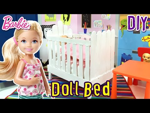 How to Make Doll Bed For Barbie Chelsea - DIY - Doll Furniture - Making Kids Toys