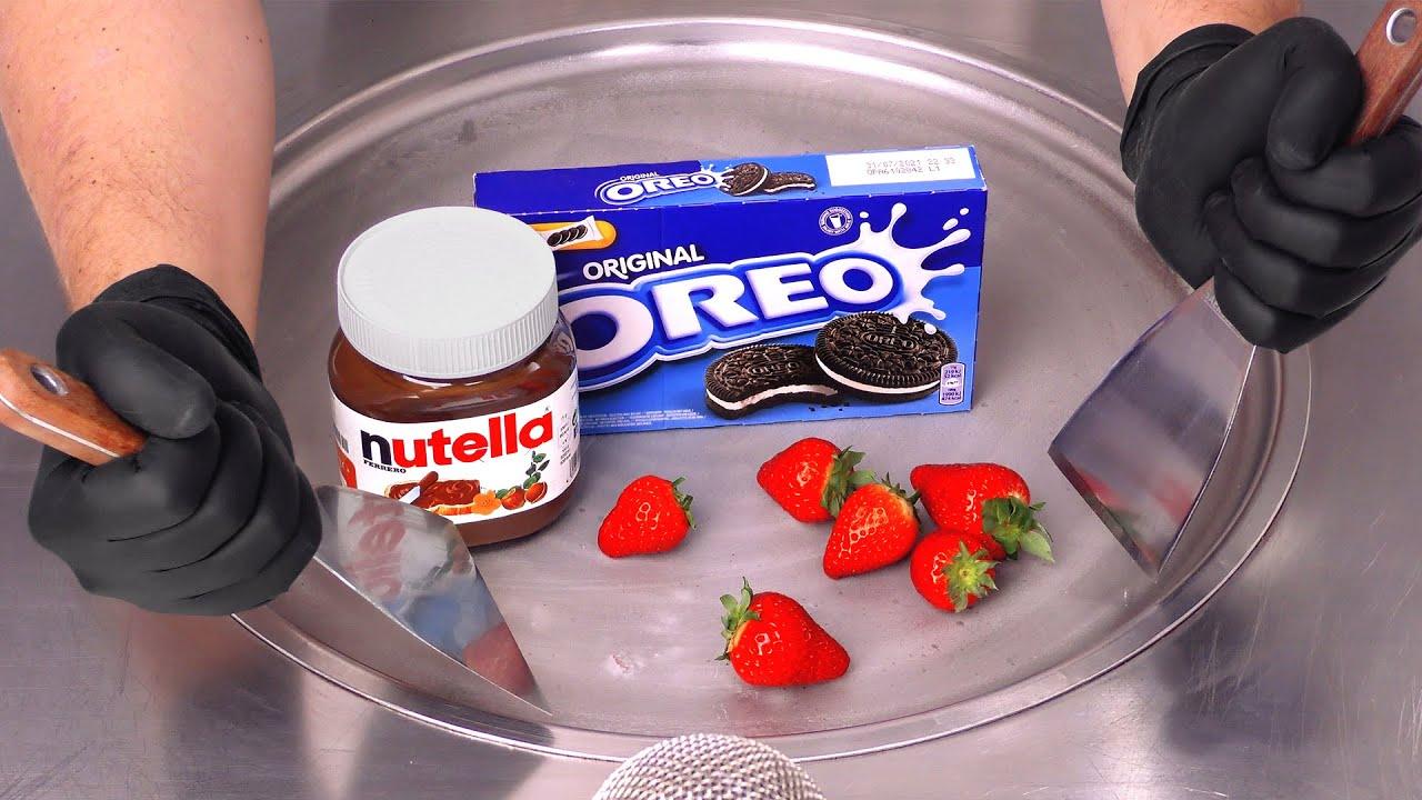 Nutella, Oreo & Strawberry - Ice Cream Rolls   ASMR