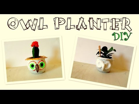 How to Make an Owl Planter/ Air Drying Clay Idea | by Fluffy Hedgehog