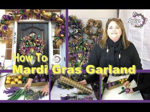 Deco Mesh Mardi Gras Door Garland Sneak Peek