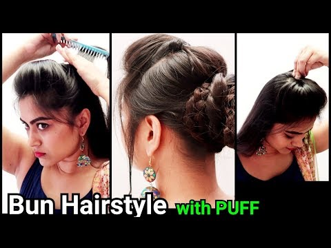 Ethnic Bun with PUFF Hairstyle//Indian Festive hairstyles//Party/wedding hairstyles for long hair