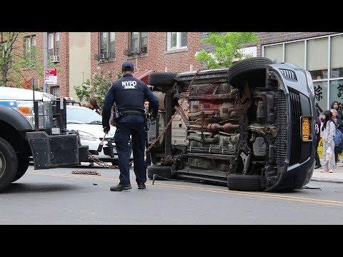 NYPD stolen vehicle pursuit, rollover, & arrest