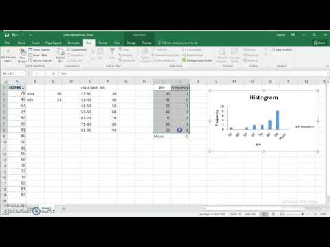 Use Excel  2016 to make Frequency distribution and Histogram for quantitative data