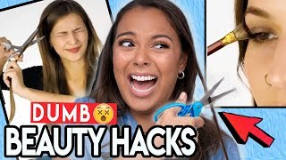 TRYING DUMB BEAUTY HACKS! (thanks 5-minute crafts) 😇