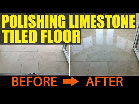 Limestone Tiled Floor Cleaned and Polished in Owestry