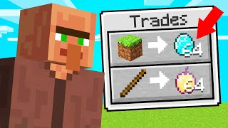 Trading OP VILLAGERS In MINECRAFT... (*RARE* ITEMS)
