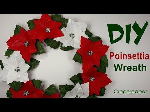 Poinsettia Wreath tutorial | Crepe paper Christmas Wreath