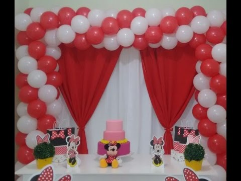ARCO QUADRADO DE BALÕES  COM 2 CORES TEMA MINNIE   -   square balloon arch with two colors