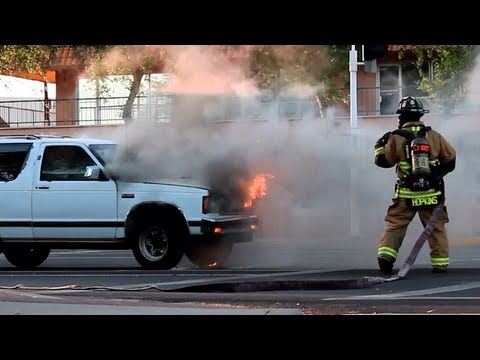 Car Fire, Chevy S10 SUV in Flames