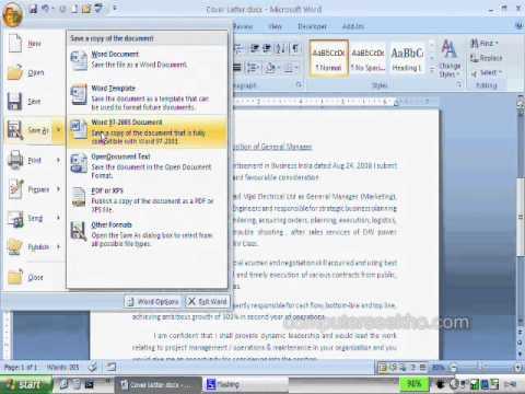 Learn Computer in Hindi - Saving documents in Microsoft Word 2007
