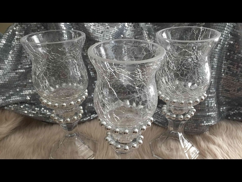 Glass Beaded Candle Holder Trio Set