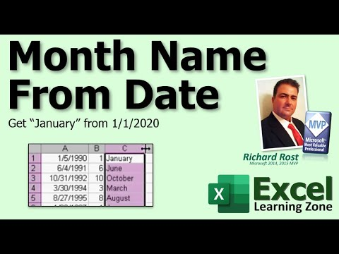 Microsoft Excel: Get Month Name From Date (i.e.