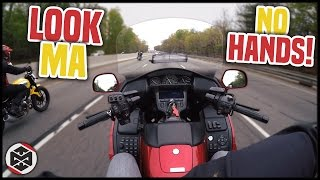 RIDING WITH NO HANDS!   First Ride on a Honda Goldwing!