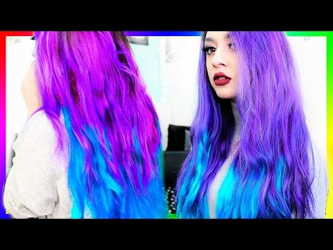 DYING MY HAIR PURPLE AND BLUE OMBRE !