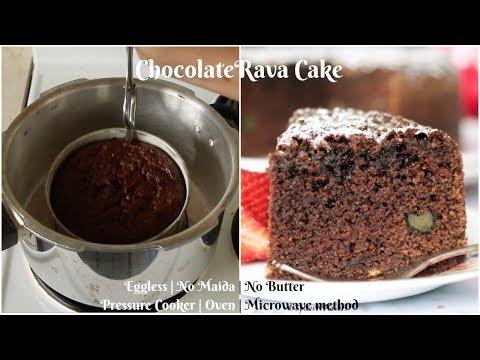 Giveaway | Chocolate Rava Cake in Pressure Cooker | Oven | Microwave method | Eggless Sooji Cake