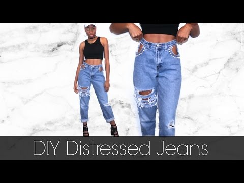 DIY Distressed Ripped Jeans w/ Cut Out Pockets