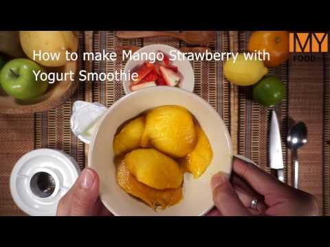 How to make Mango Strawberry with Yogurt Smoothie