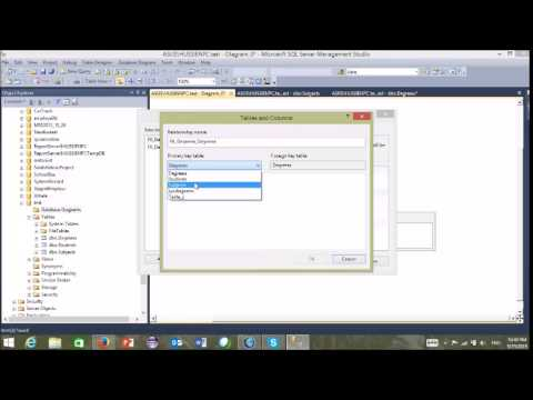 Tuition SQL Server 12# database diagrams  and tables relations
