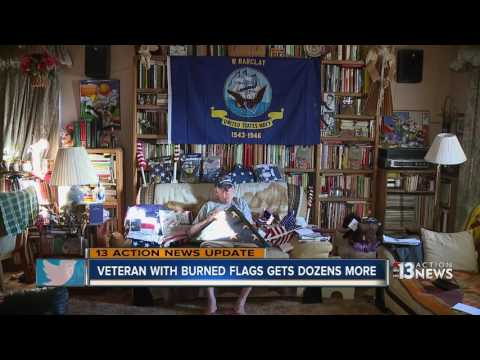 Help keeps rolling in for WWII veteran whose flags were burned