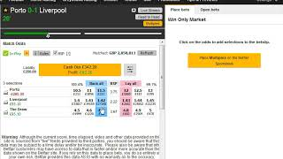 Champions League Football Trading On The Betting Exchanges Match Odds Market Porto V Liverpool